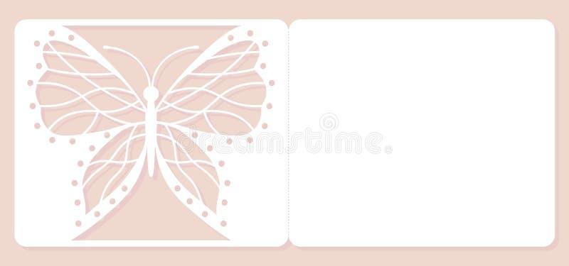 Zaproszenie karta, ślubna dekoracja, projekta element Elegancki motyli laseru cięcie również zwrócić corel ilustracji wektora royalty ilustracja