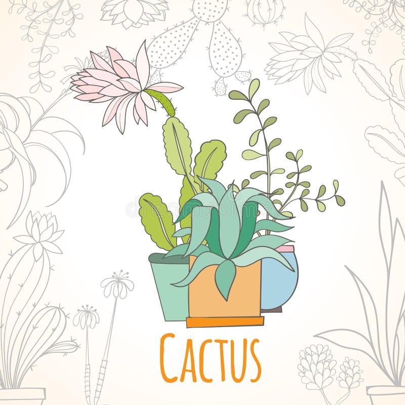 Zaproszenie karta kaktus w garnkach royalty ilustracja