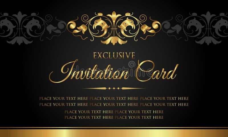 Zaproszenie karta - luksusowy czarny i złocisty rocznika styl ilustracja wektor