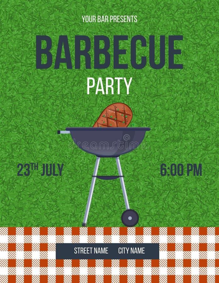 Zaproszenie karta, plakat, ulotka, sztandar, lato grilla przyjęcie, pinkin ilustracji