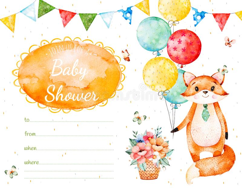 zaproszenie karta z ślicznym lisem, girlandy, stubarwni balony, ilustracja wektor