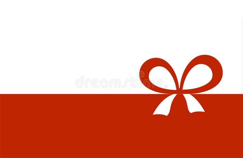 Zaproszenie, karta Z Czerwonym faborkiem I łęk na białym tle, powitania lub prezenta ilustracja wektor