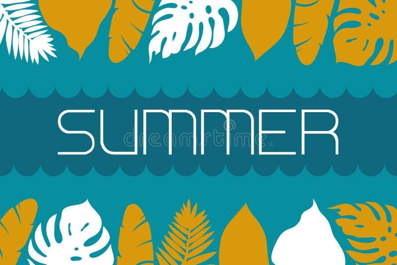 Zaproszenie karta z fala ocean, liśćmi tropikalne rośliny i summering ` lata `, egzota wakacje ilustracji