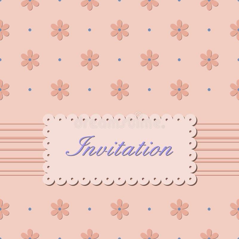 Download Zaproszenie Karta Z Kwiatami Na Beżowym Tle Ilustracja Wektor - Ilustracja złożonej z okwitnięcie, dekoracyjny: 53792173