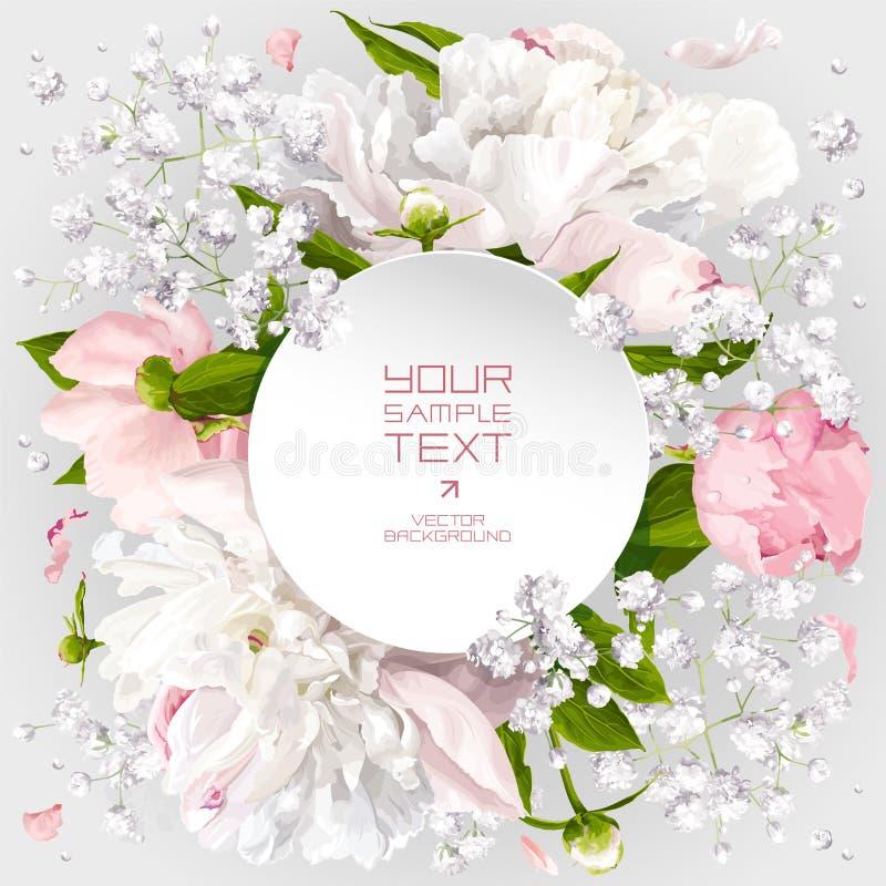 Zaproszenie karta z peoniami i małymi białymi kwiatami