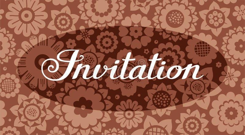 Zaproszenie, kwiecisty tło, brąz, wektor, angielszczyzny ilustracja wektor