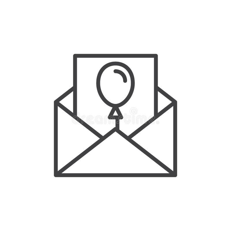 Zaproszenie list dla wydarzenie linii ikony, konturu wektoru znak, liniowy stylowy piktogram odizolowywający na bielu ilustracji