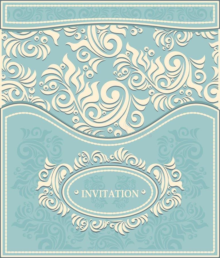Zaproszenie lub rama w Dekoracyjnym kwiecistym backgroun royalty ilustracja