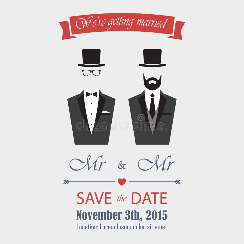 zaproszenie na ślub gejem ilustracji