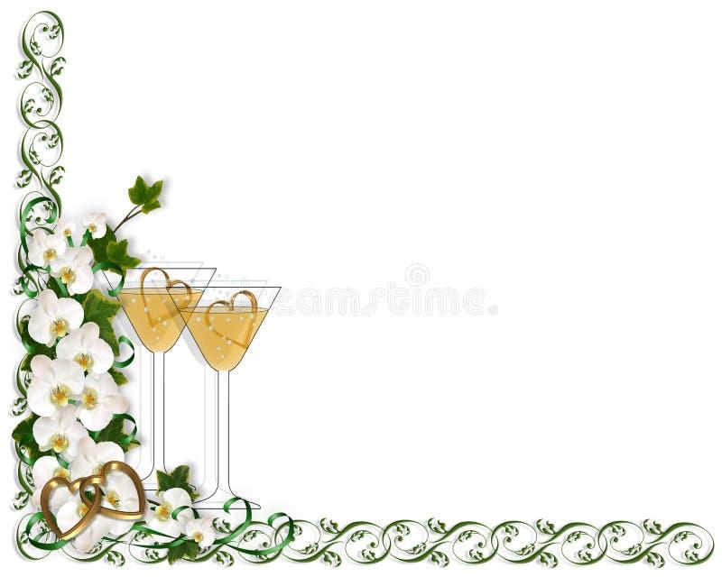 zaproszenie na ślub szablonu graniczny royalty ilustracja