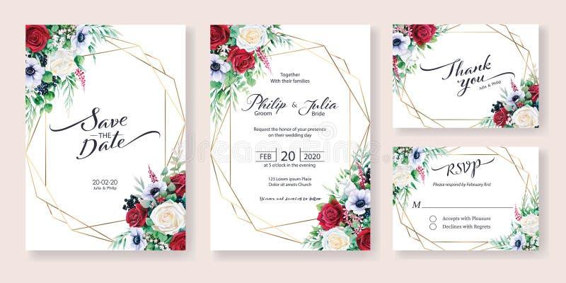 Zaproszenie na ślub, zapisz datę, dziękuję, szablon projektu karty RSVP Kwiat zimowy, róża czerwona i biała, kolor wodny ilustracji
