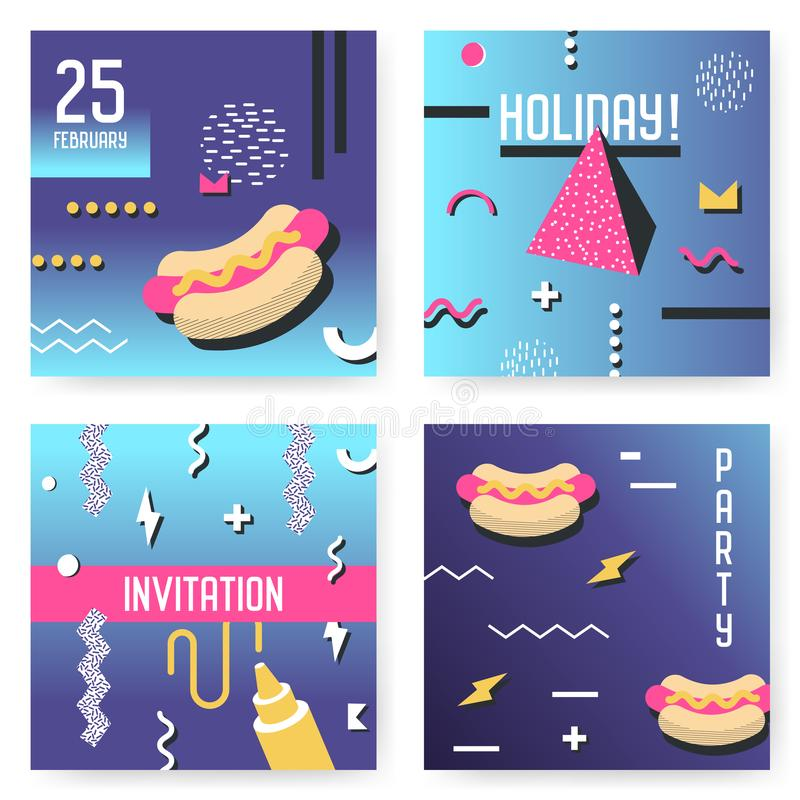 Zaproszenie Plakatowi szablony Ustawiający z Geometrycznymi Memphis kształtami Partyjnego tło rocznika 80s 90s Retro styl ilustracji