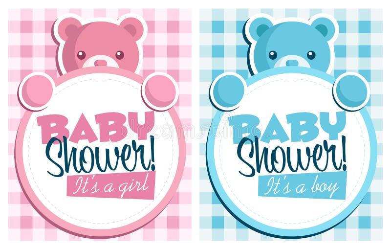 zaproszenie prysznic dziecko karty ilustracji