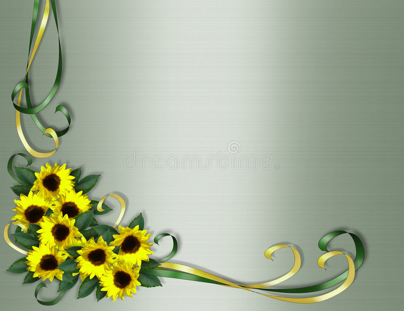 zaproszenie rabatowi narożnikowi słoneczniki ilustracja wektor