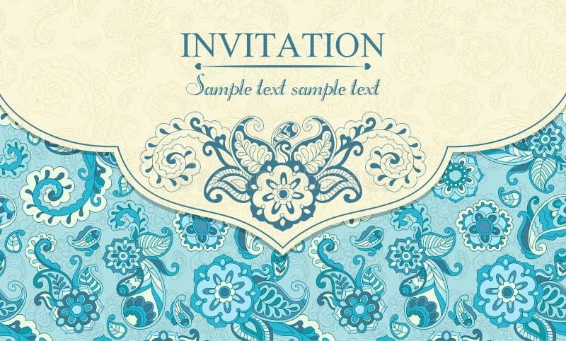 Zaproszenie w wschodnim tureckim stylu, błękitnym ilustracji