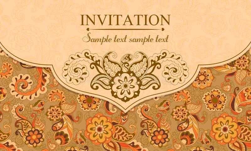 Zaproszenie w wschodnim tureckim stylu, pomarańcze royalty ilustracja