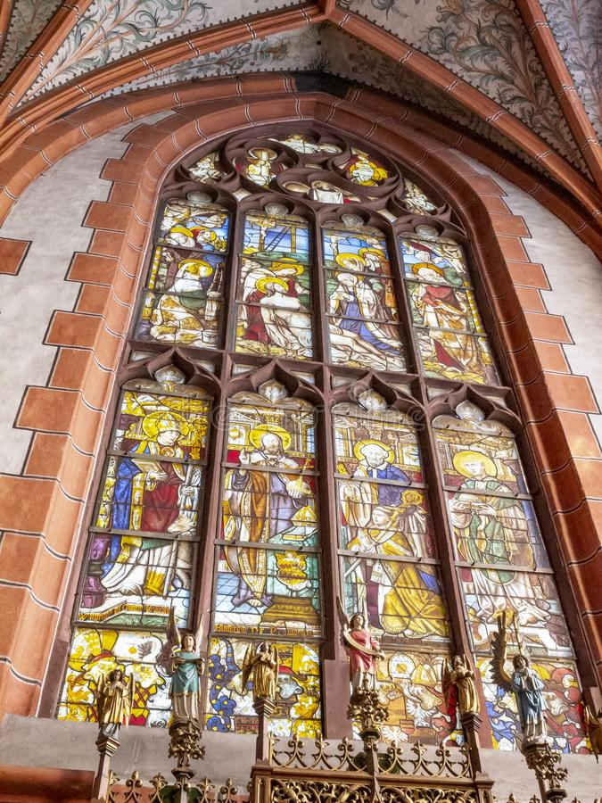 Zaprowadzony okno w Grodowym kościół St Philip i St James w Schleiden, Północny Westphalia Niemcy fotografia royalty free
