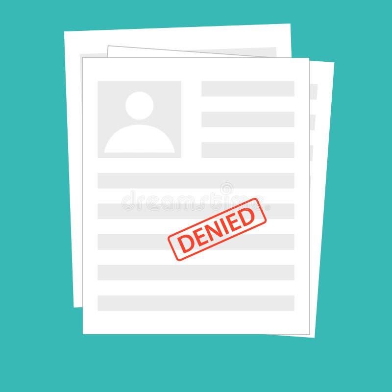 Zaprzeczający odrzutu dokument z znaczkiem Popielaci podaniowi pojęcia Odgórny widok Nowożytnego płaskiego projekta graficzni ele ilustracja wektor