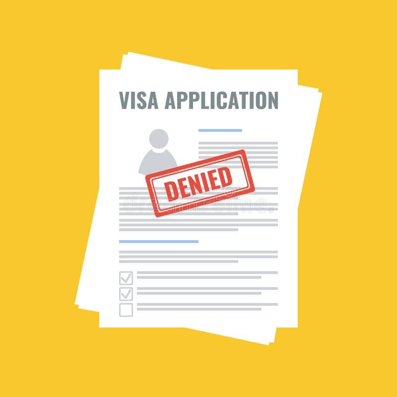 Zaprzeczający wniosek wizowy, płaski projekt ilustracji