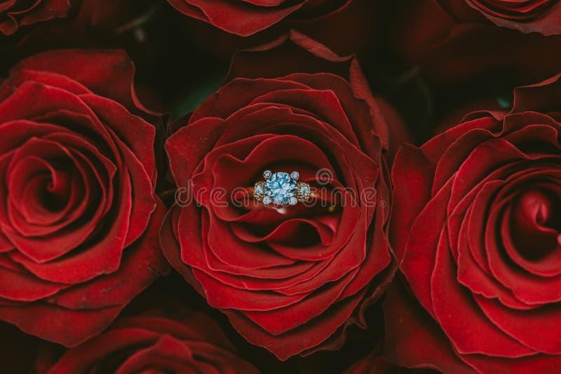 Zaręczynowej propozycji różany bukiet fotografia stock