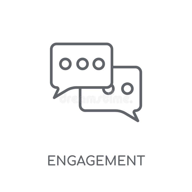 Zaręczynowa liniowa ikona Nowożytnego konturu logo Zaręczynowy pojęcie o ilustracji