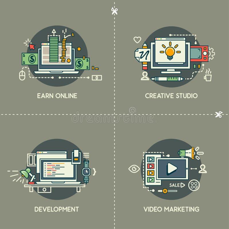 Zarabia Online, Kreatywnie studio, rozwój, Wideo marketing royalty ilustracja