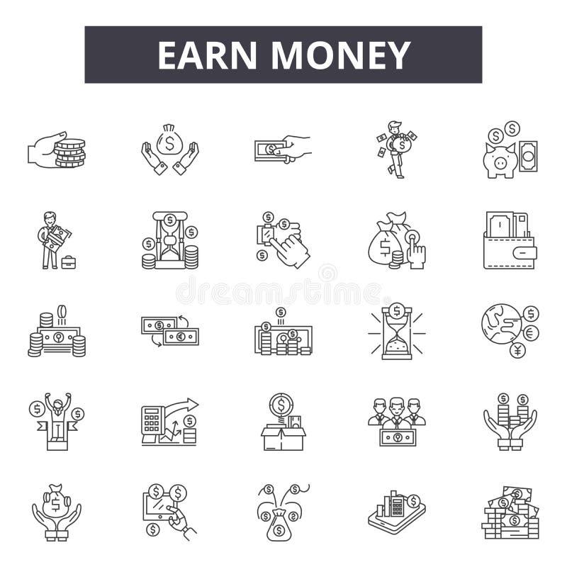 Zarabia pieniądze kreskowe ikony, znaki, wektoru set, kontur ilustracji pojęcie ilustracja wektor
