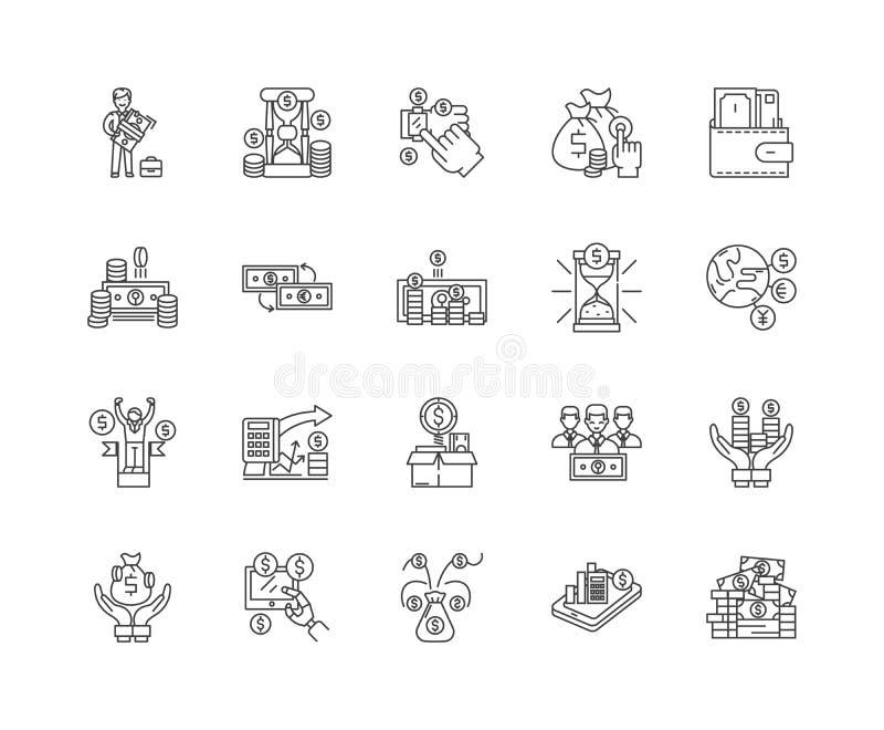 Zarabia pieni?dze kreskowe ikony, znaki, wektoru set, kontur ilustracji poj?cie ilustracji