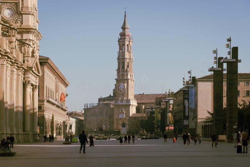 Zaragoza centrum, Spanien royaltyfria foton