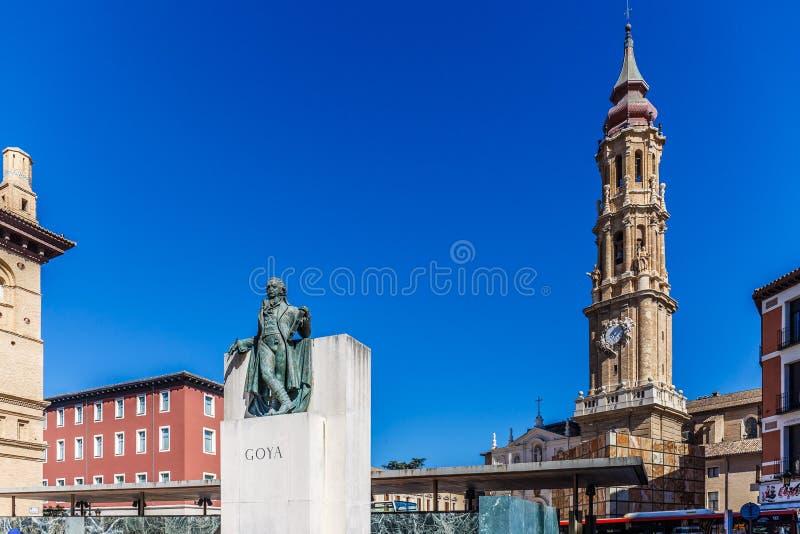 Zaragoza in de zomer, Spanje, Aragon stock foto