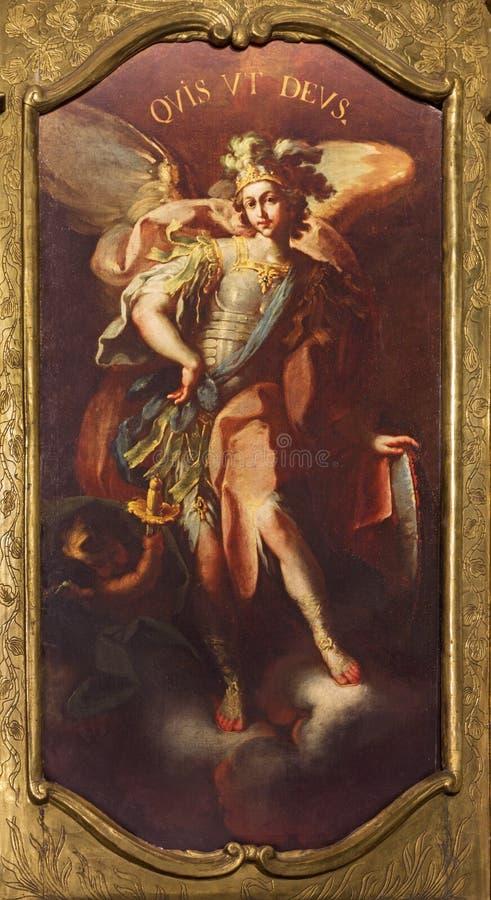 ZARAGOZA, ESPAÑA - 1 DE MARZO DE 2018: La pintura barroca de Michael Archangel en la iglesia Iglesia de San Felipe y Santiago el  imagen de archivo libre de regalías