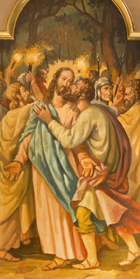ZARAGOZA, ESPANHA, 2018: A pintura Betray de Jesus com o beijo do Judas na igreja Iglesia de Santo Tomas de Aquino imagem de stock royalty free