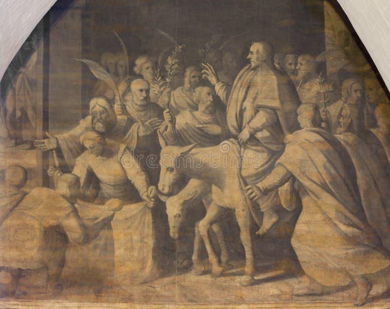 ZARAGOZA HISZPANIA, MARZEC, - 3, 2018: Obrazu wejście Chrystus w Jerozolima w kościelnym Iglesia De San Pablo zdjęcia royalty free