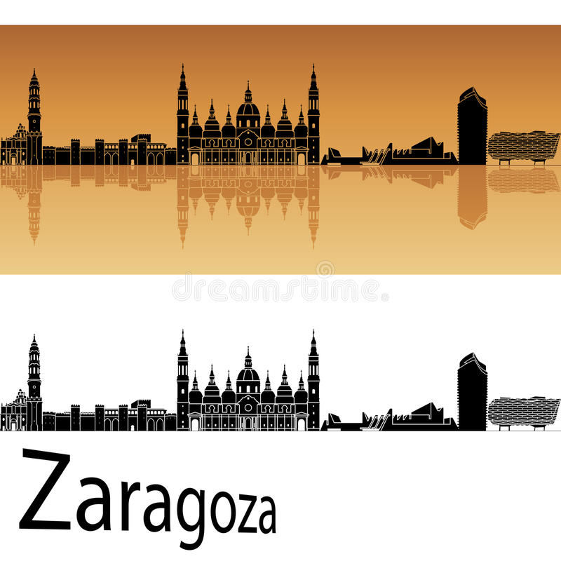 Zaragoza horizon op oranje achtergrond royalty-vrije illustratie