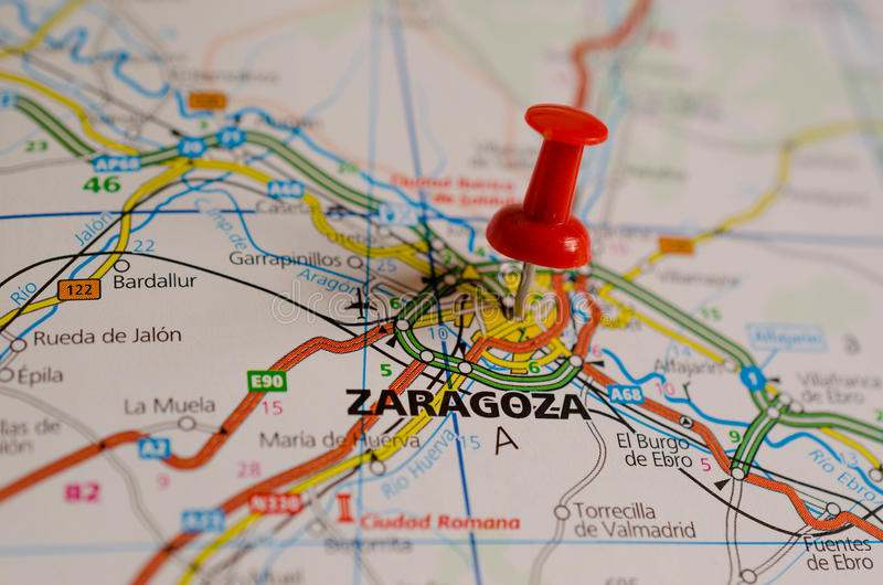Zaragoza on map. Close up shot of Zaragoza Spain on a map with red push pin stock images