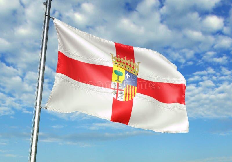 Zaragoza Provincie die van de Vlag van Spanje met hemel op realistische 3d illustratie als achtergrond golven royalty-vrije illustratie