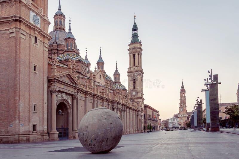 Zaragoza Saragossa spain cityscape Plaza del Pilar imagem de stock