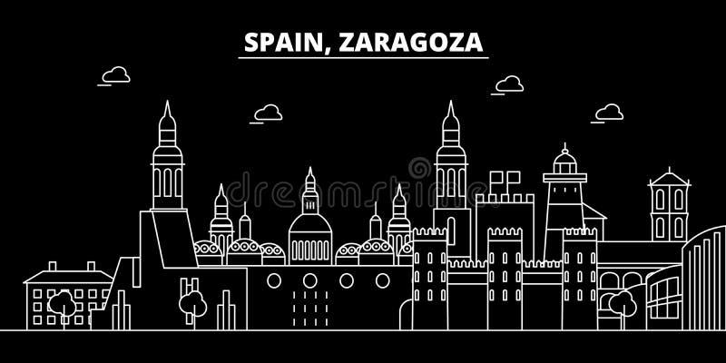 Zaragoza silhouethorizon De vectorstad van Spanje - Zaragoza, Spaanse lineaire architectuur, gebouwen Zaragoza reis vector illustratie