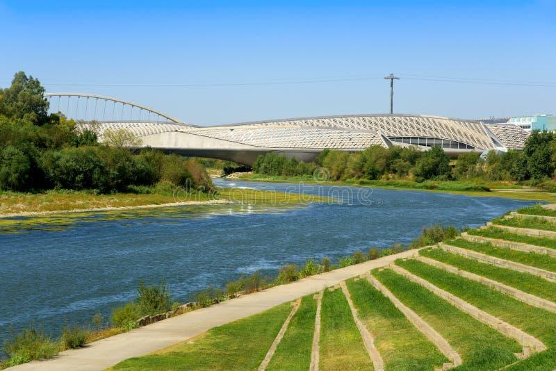 Ebro River and Bridge Pavilion in Zaragoza, Spain royalty free stock images