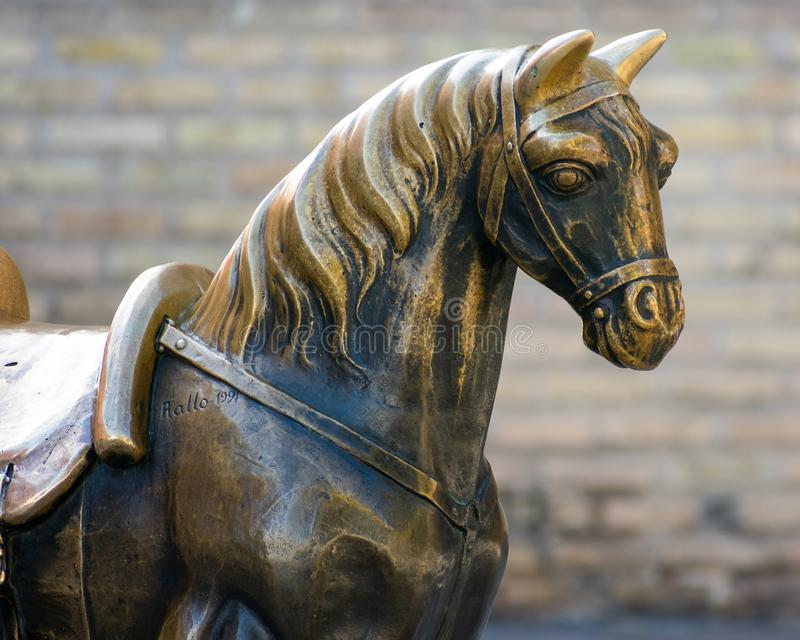 Zaragoza, Spain/Europe; 12/1/2019: Famous bronze horse sculpture in the downtown of Zaragoza, Spain royalty free stock photos