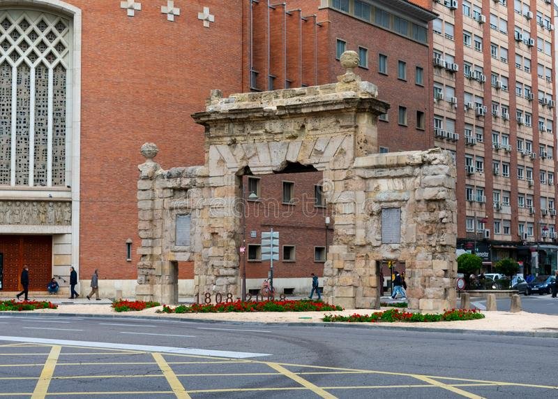 Zaragoza, Spain/Europe; 12/1/2019: Historical Carmen's Door (Puerta del Carmen) in Zaragoza, Spain royalty free stock image