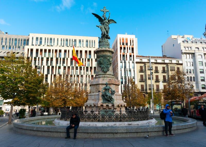 Zaragoza, Spain/Europe; 12/1/2019: Spain Square in the downtown of Zaragoza, Spain stock photos
