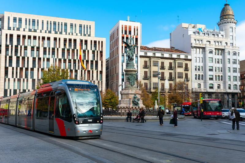 Zaragoza, Spain/Europe; 12/1/2019: Spain Square with a tram in the downtown of Zaragoza, Spain royalty free stock photography
