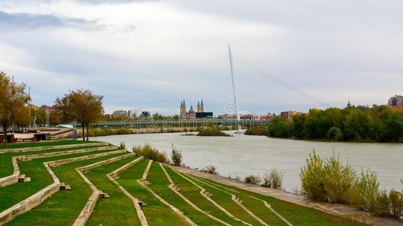 Zaragoza, Spain/Europe; 24/11/2019: Volunteer Walkway (Pasarela del Voluntariado) over the Ebro river in Zaragoza, Spain. Construction, street royalty free stock photo