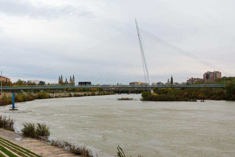 Zaragoza, Spain/Europe; 24/11/2019: Volunteer Walkway (Pasarela del Voluntariado) over the Ebro river in Zaragoza, Spain royalty free stock photography
