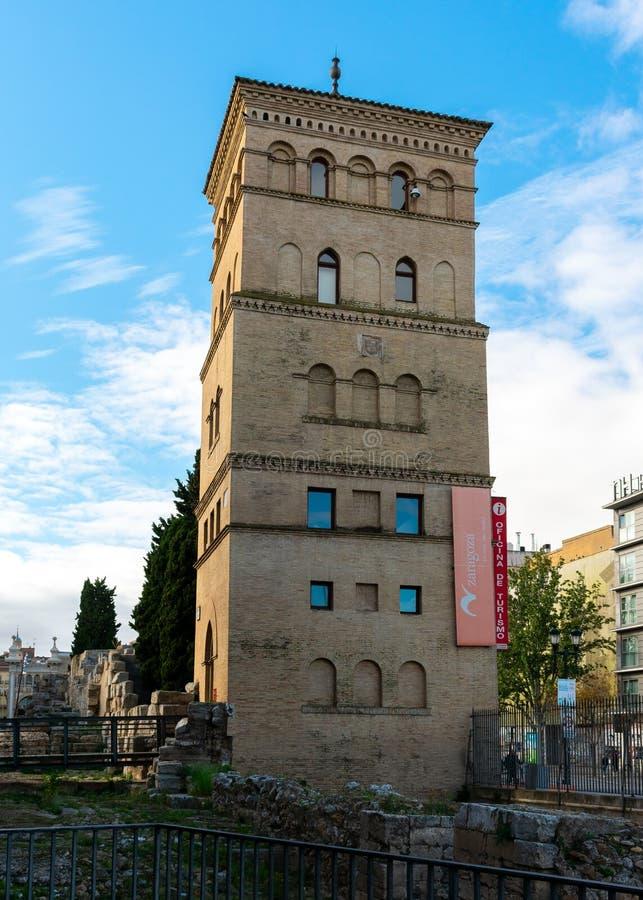 Zaragoza, Spain/Europe; 12/1/2019: Zuda tower next to the historic Roman walls in the downtown of Zaragoza, Spain royalty free stock photos