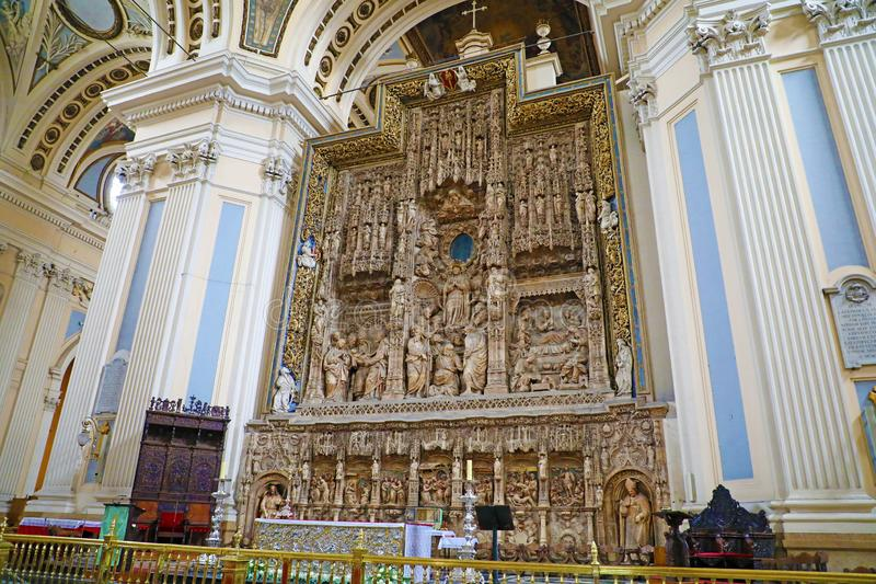 ZARAGOZA, SPAIN - JULY 1, 2019: beautiful interior of Cathedral Basilica of Our Lady of the Pillar, Zaragoza, Spain stock photography