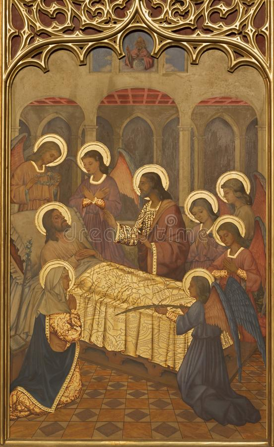 ZARAGOZA, SPAIN - MARCH 1, 2018: The neogothic painting of Death of St. Joseph in church Iglesia del Sagrado Corazon de Jesus. By Nauarro 1945 royalty free stock photo
