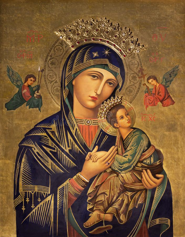 ZARAGOZA, SPAIN - MARCH 1, 2018: The painting icon of Madonna in church Iglesia del Perpetuo Socorro by pater Jesus Faus stock photo