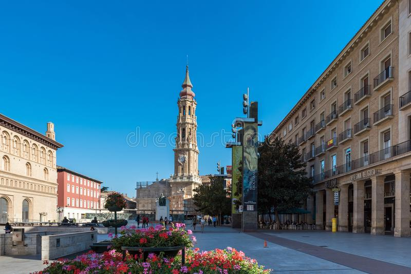 ZARAGOZA, SPAIN - SEPTEMBER 27, 2017: The Cathedral of the Savior or Catedral del Salvador. Copy space for text. royalty free stock image